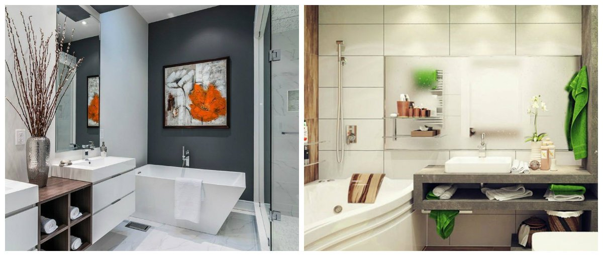 2019 bathroom trends, white, grey, black bathroom interior designs
