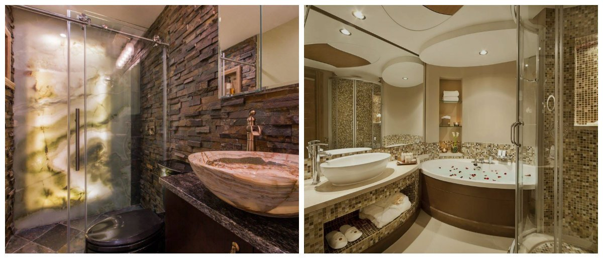 2019 bathroom trends, wood and brick materials in bathroom design