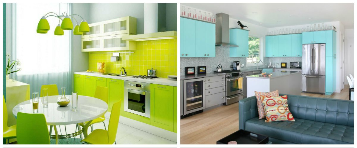 2019 kitchen trends, bright colors in kitchen interior design 2019