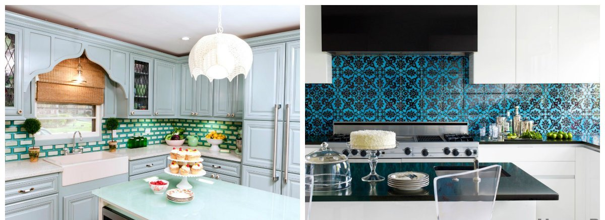 2019 kitchen trends, kitchen design with colored glass tiles