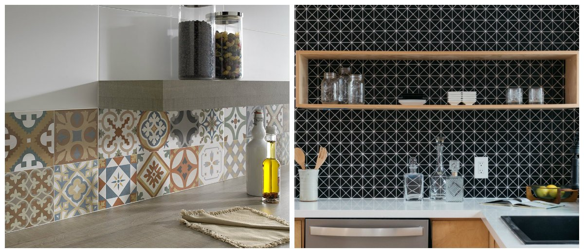 2018 kitchen trends, geometric graphic on tiles in kitchen designs 2018