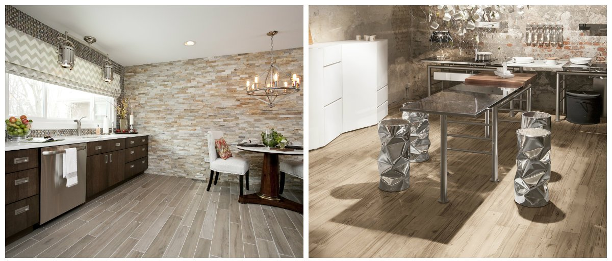 2019 kitchen trends, stylish floor tiles with imitation of wood