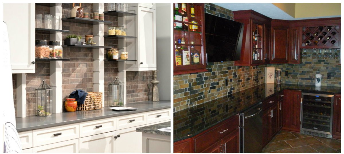 2019 kitchen trends, kitchen design with natural stone and brick