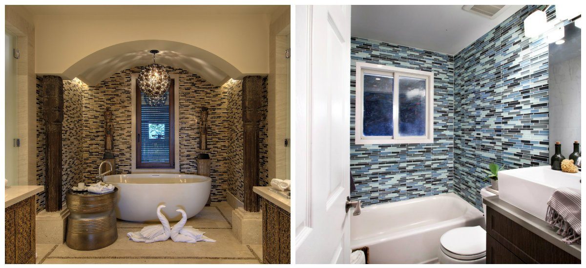bathroom designs 2018, stone walls, walls with glass tiles