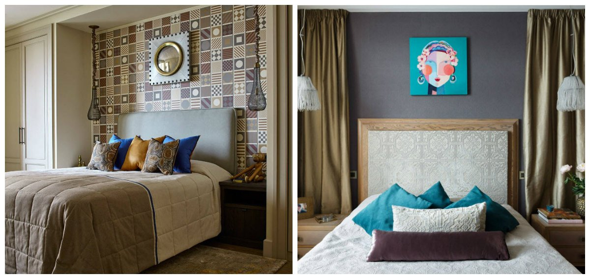 bedroom decorating ideas , fashionable tile design at the head of the bed
