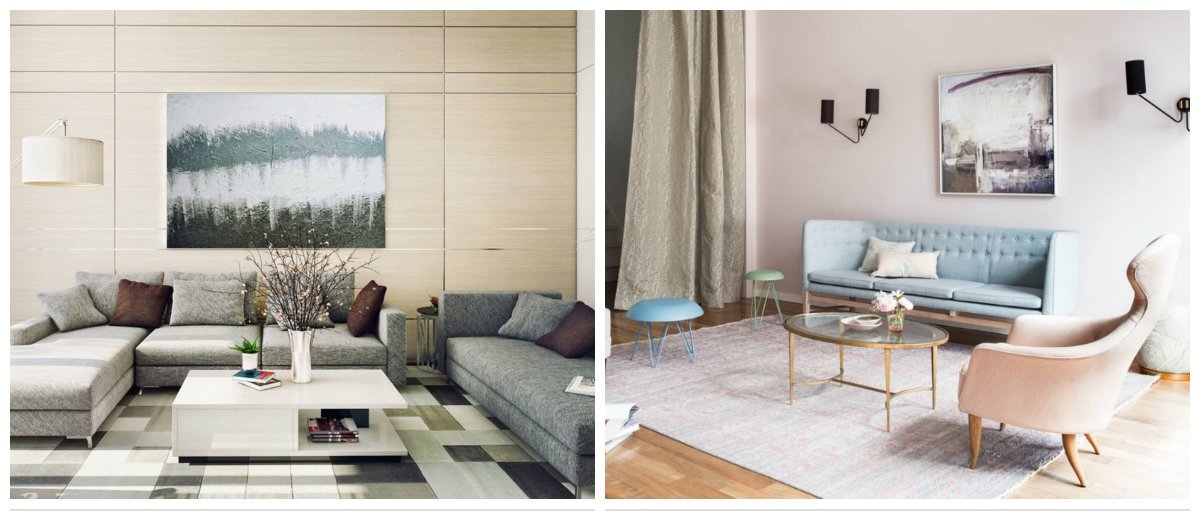 interior design 2019, fashionable furniture in pastel colors