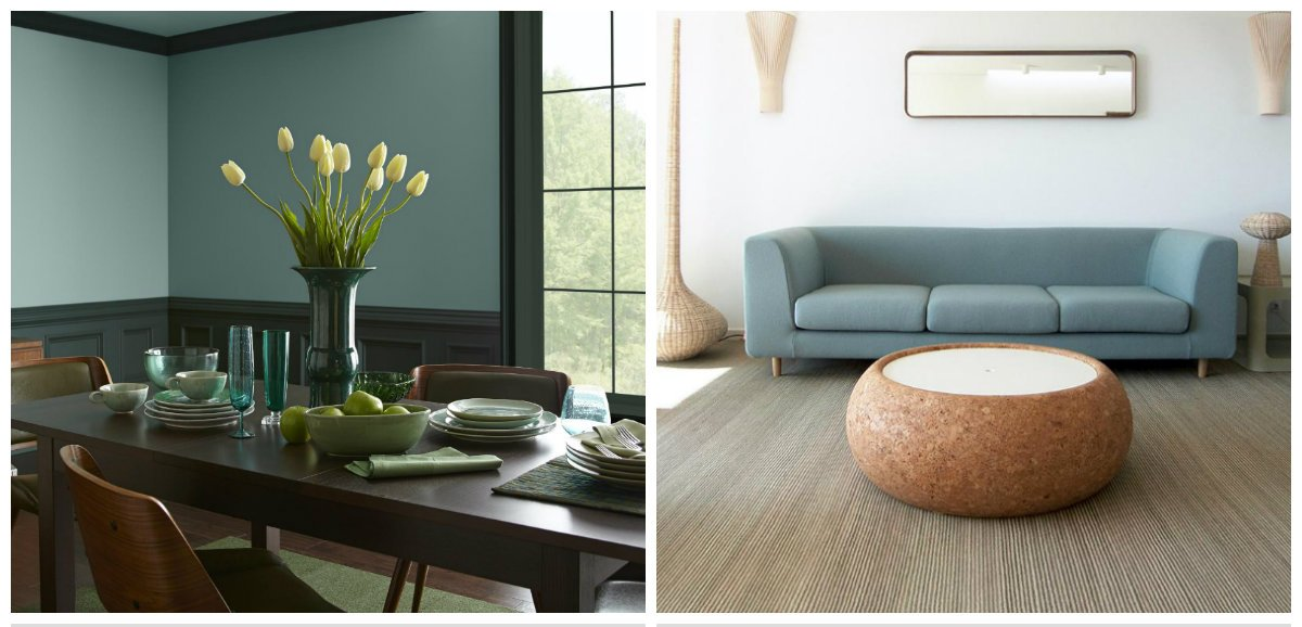 interior design trends 2018, blue-gray-green in interior design 2018