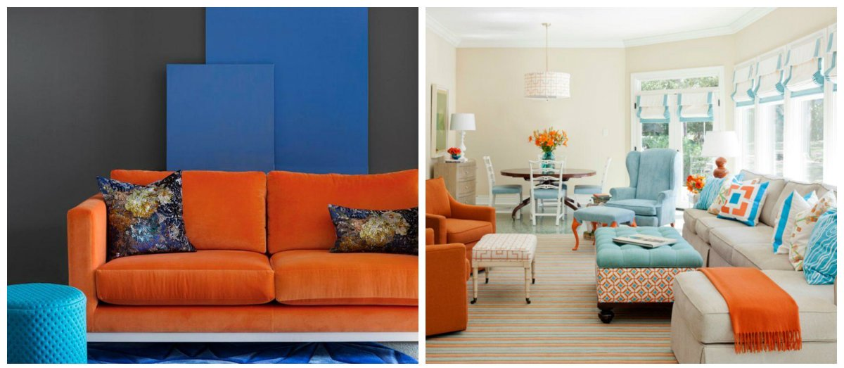 interior design trends 2018, blue-orange combination in interior design 2018