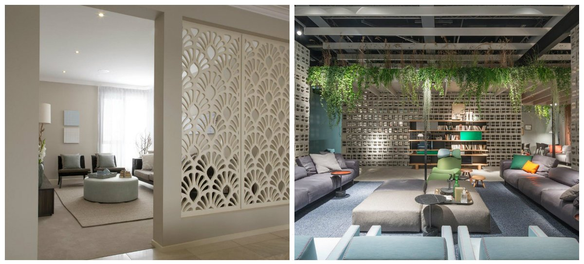 interior design trends 2018, concrete blocks for room partition