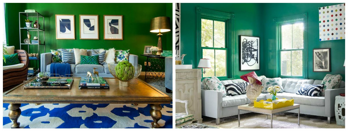 interior design trends 2018, green shades in interior design 2018