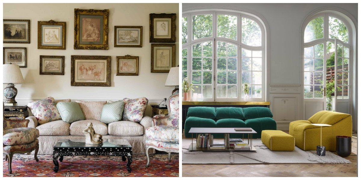 interior design trends 2019, stylish sofas and armchairs in interior design 2019