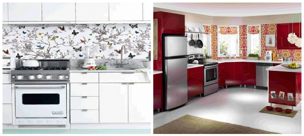 kitchen ideas 2019, washable wallpaper in kitchen designs 2019