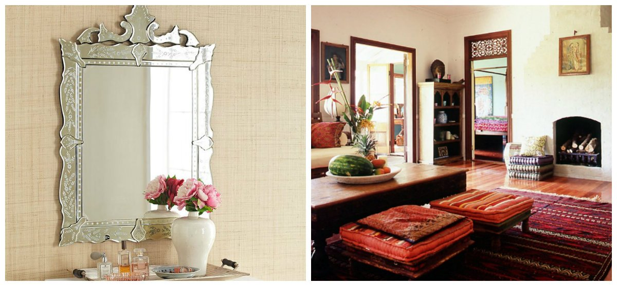 Indian home decor, mirrors with sashes, bright carpets