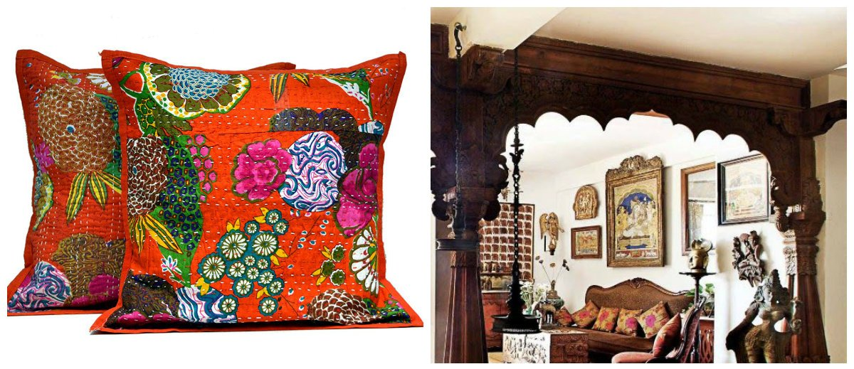 Indian home decor, pillows, doorways in form of arches