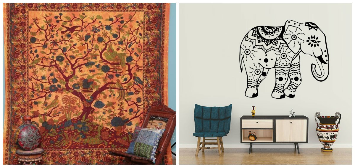 Indian interior design, birds and animals in Indian interior design