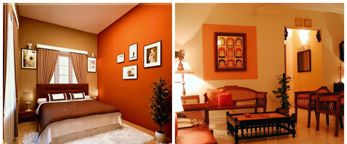 Indian interior design, muscatel pumpkin color in Indian interior design