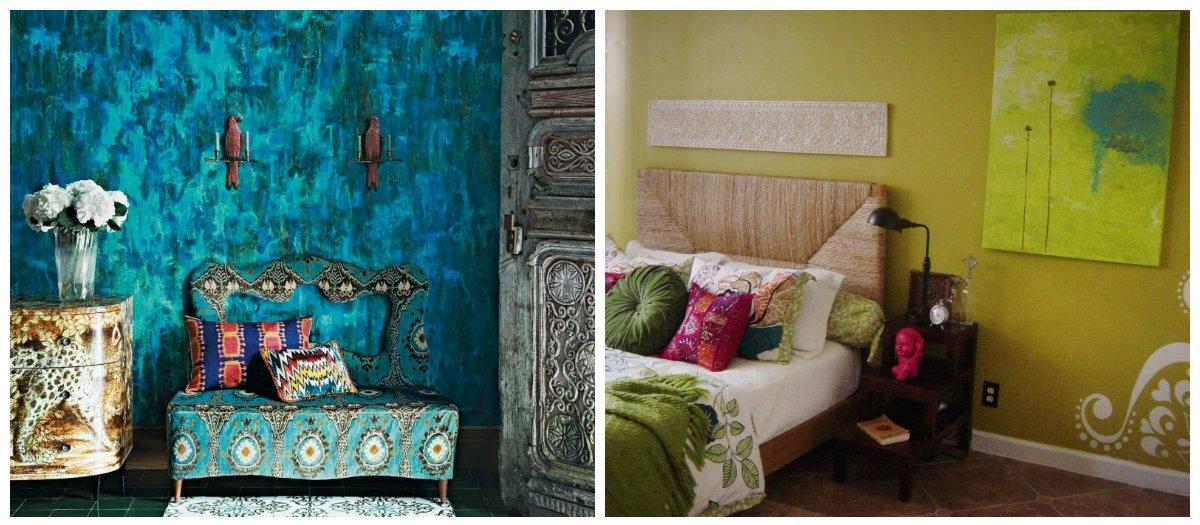 Indian interior design, turquoise color, yellow color in Indian interior design
