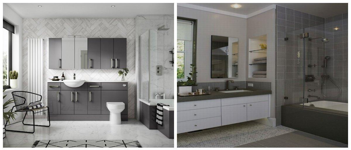bathroom ideas 2019, fashionable grey bathroom