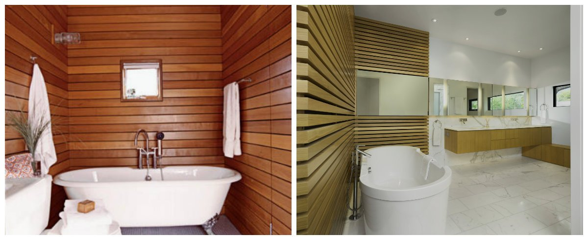 bathroom ideas 2019, bathroom with wooden panels