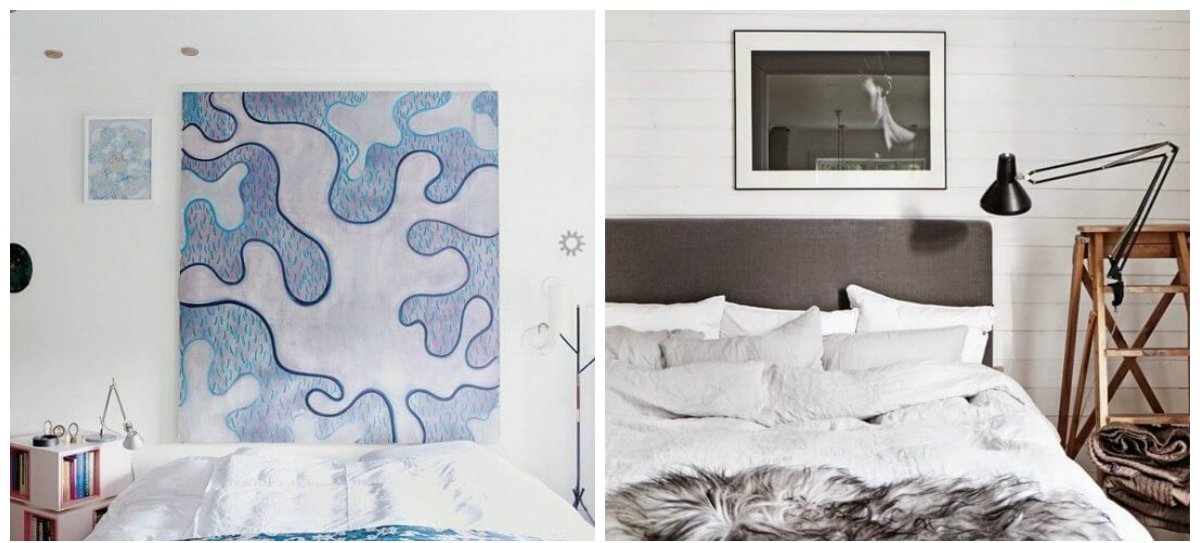 bedroom decorating tips, small pictures, big pictures