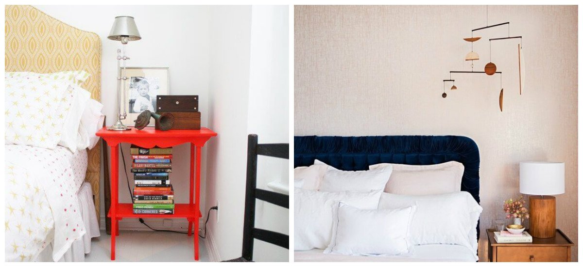 bedroom decorating tips, bright bedside table, pendant decor