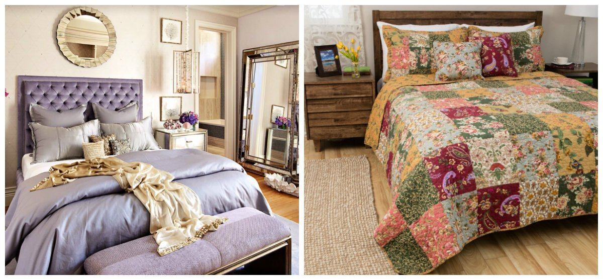 bedroom decorating tips, mirror with shiny frame, patchwork coverlet