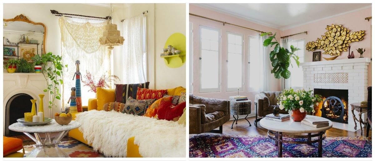 boho living room, glamour boho style in living room design