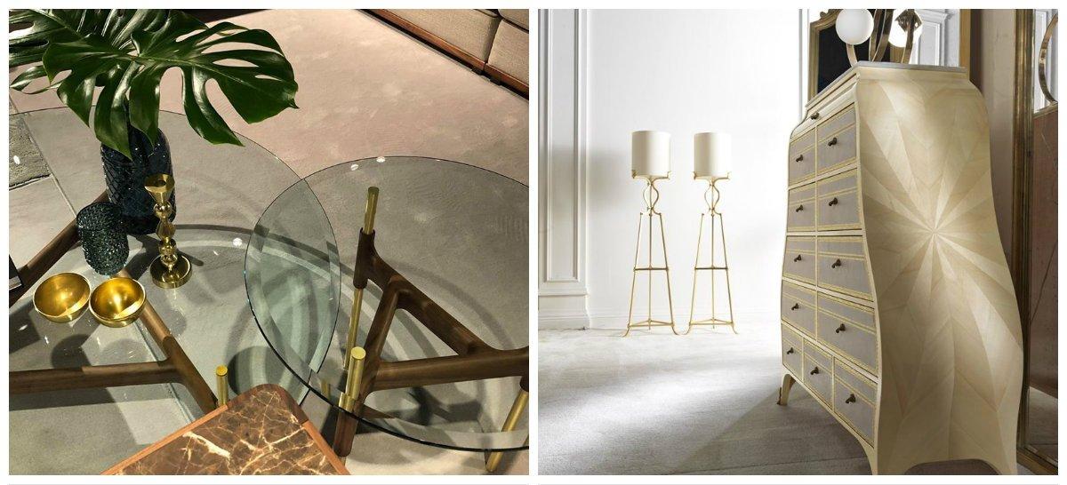 furniture trends 2018, brass in furniture design 2018