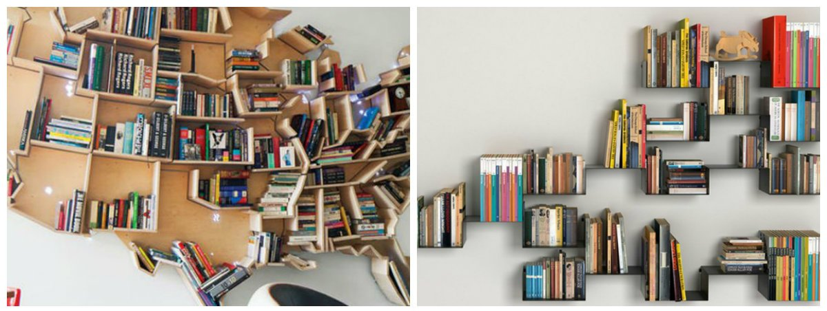home decor ideas 2019, fashionable DIY bookshelves