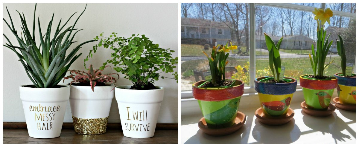 home decor ideas 2019, stylish DIY flower pots by your own hand