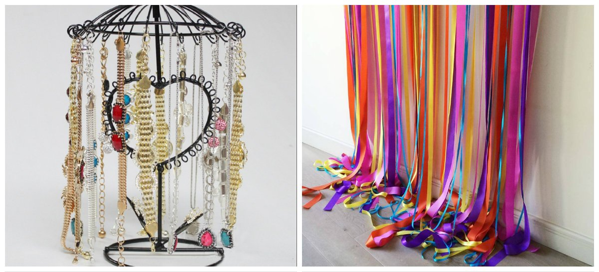home decor ideas 2019, hanger for jewelry, curtain from ribbons
