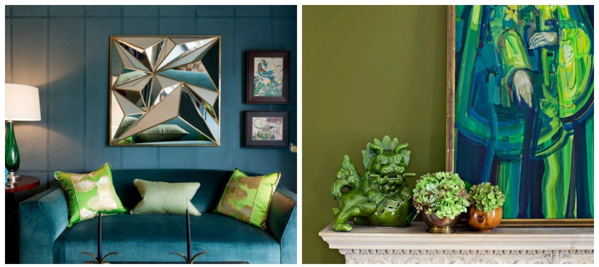interior color schemes, olive+lime+teal combination