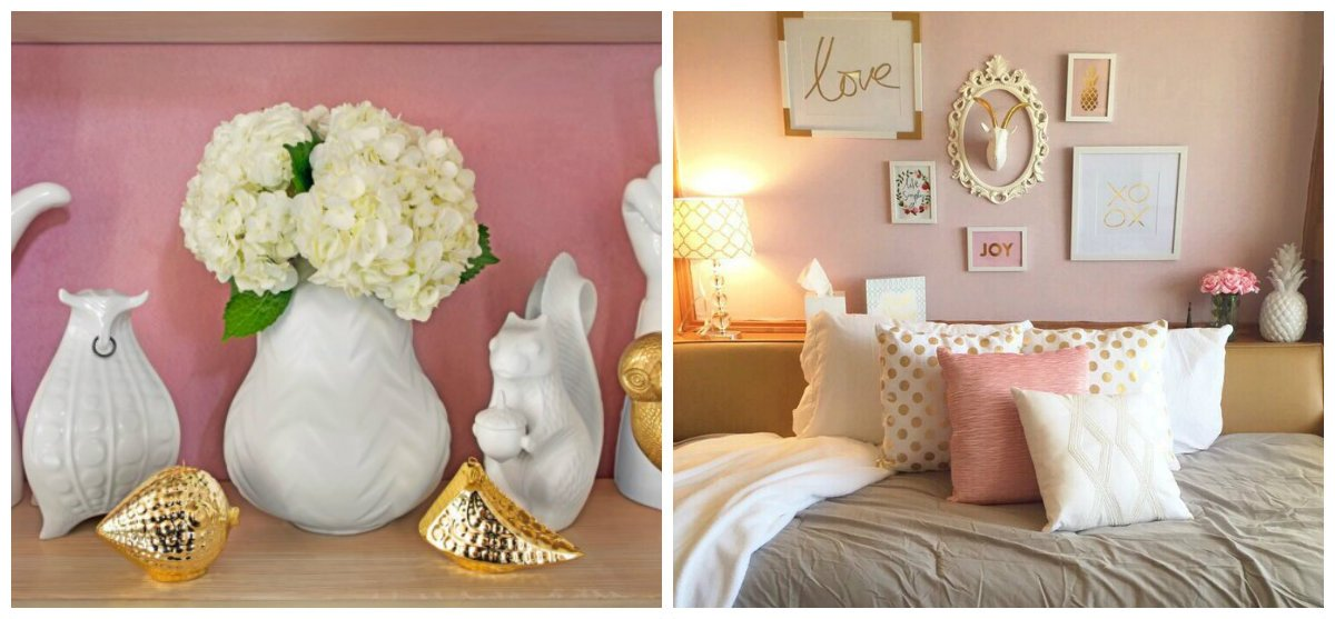 interior color schemes, pink+white+gold combination