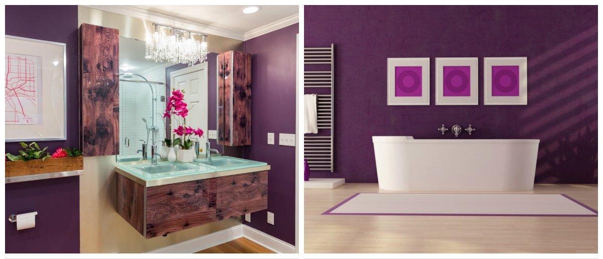 purple bathroom ideas, stylish interior design of purple bathroom