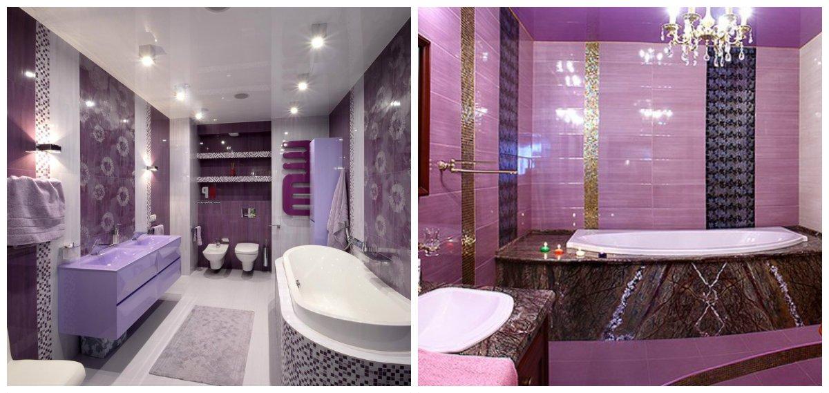 purple bathroom ideas, classic style for purple bathroom design