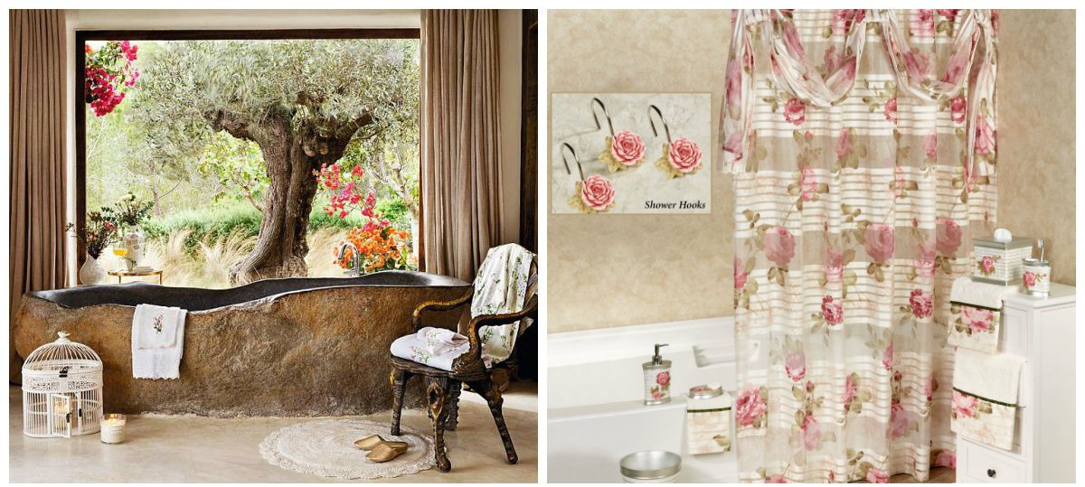 shabby chic bathroom decor, floral motifs in shabby chic style
