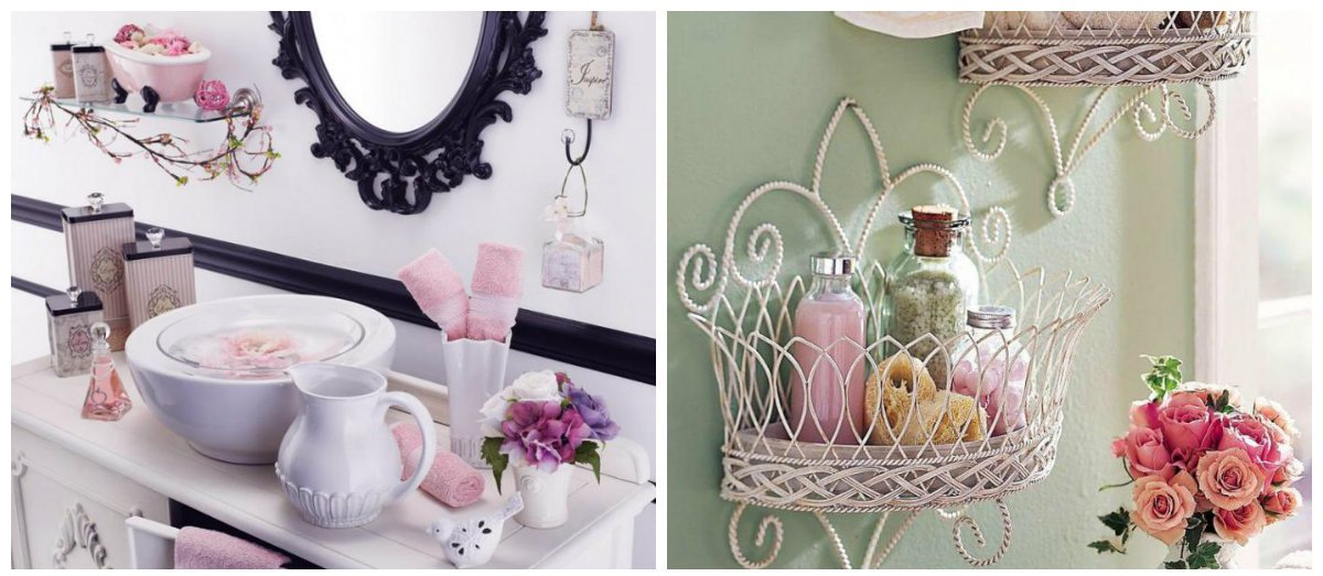 shabby chic bathroom decor, flowers in shabby chic design