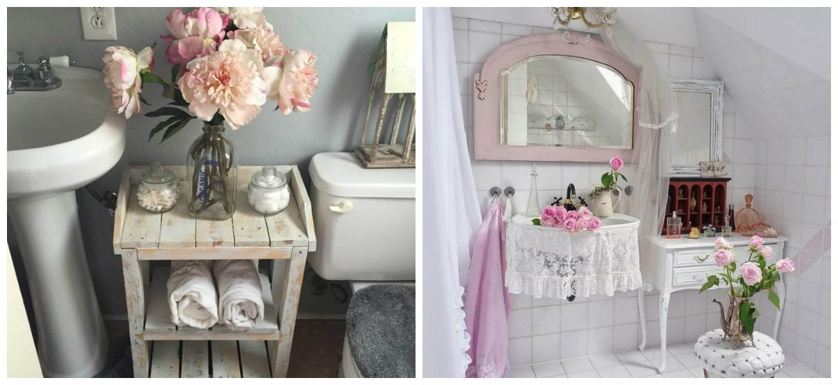 shabby chic bathroom decor, stylish accessories in shabby chic design