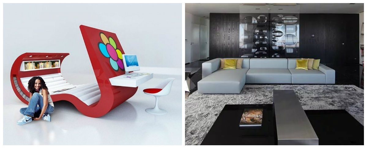 sofa design 2019, stylish high-tech style in sofa trends 2019