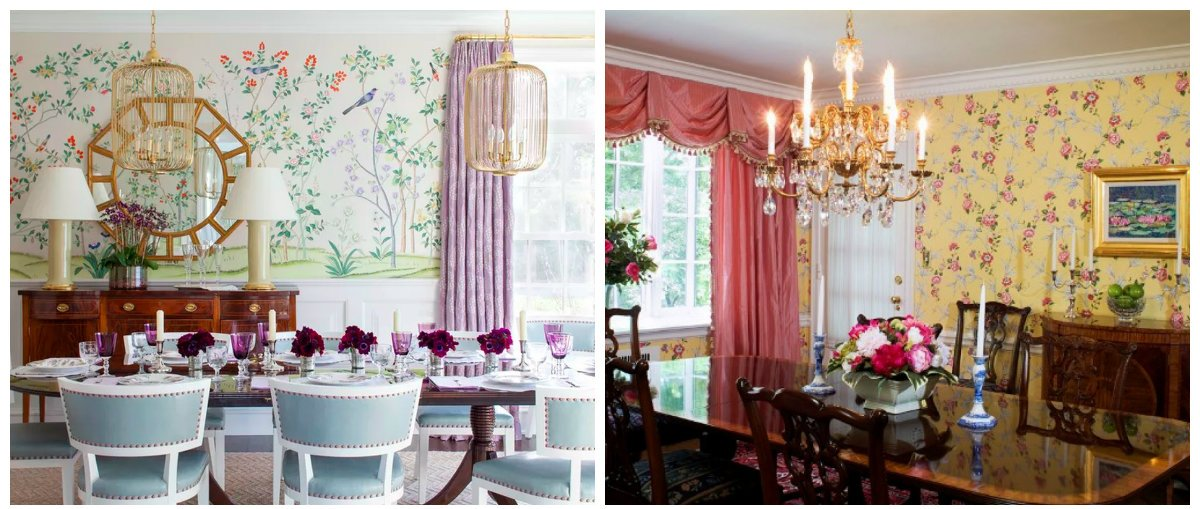 vintage dining room, wallpaper in vintage interior design 2018