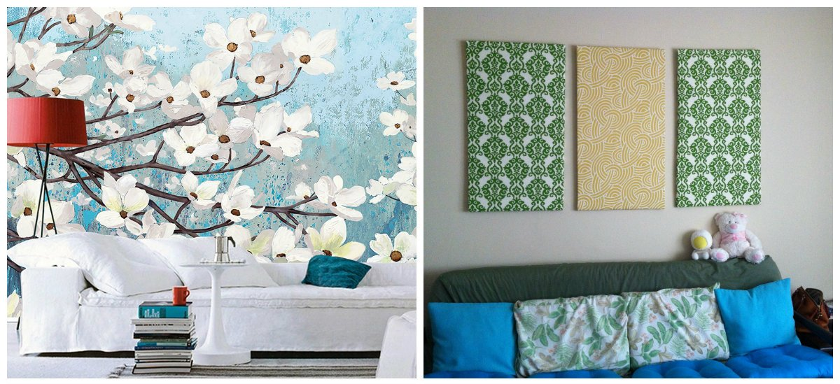 wall design ideas, fashionable wall design with fabric