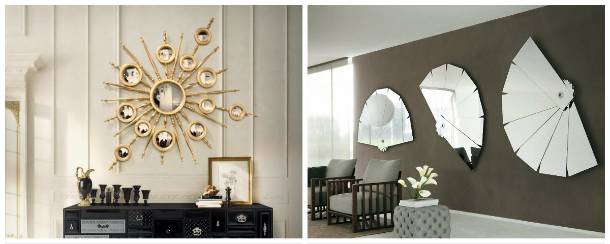 wall design ideas, stylish wall design with mirrors