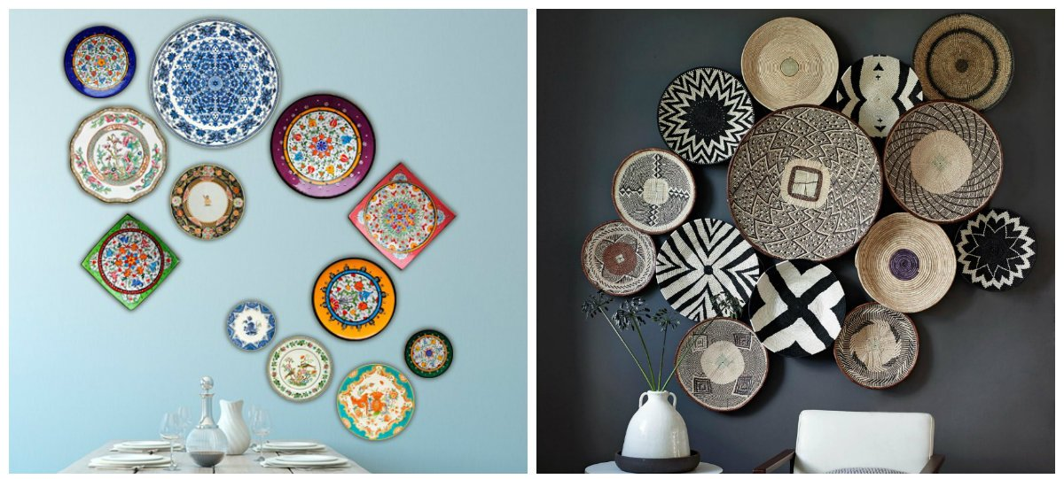 wall design ideas, wall design with plates and baskets
