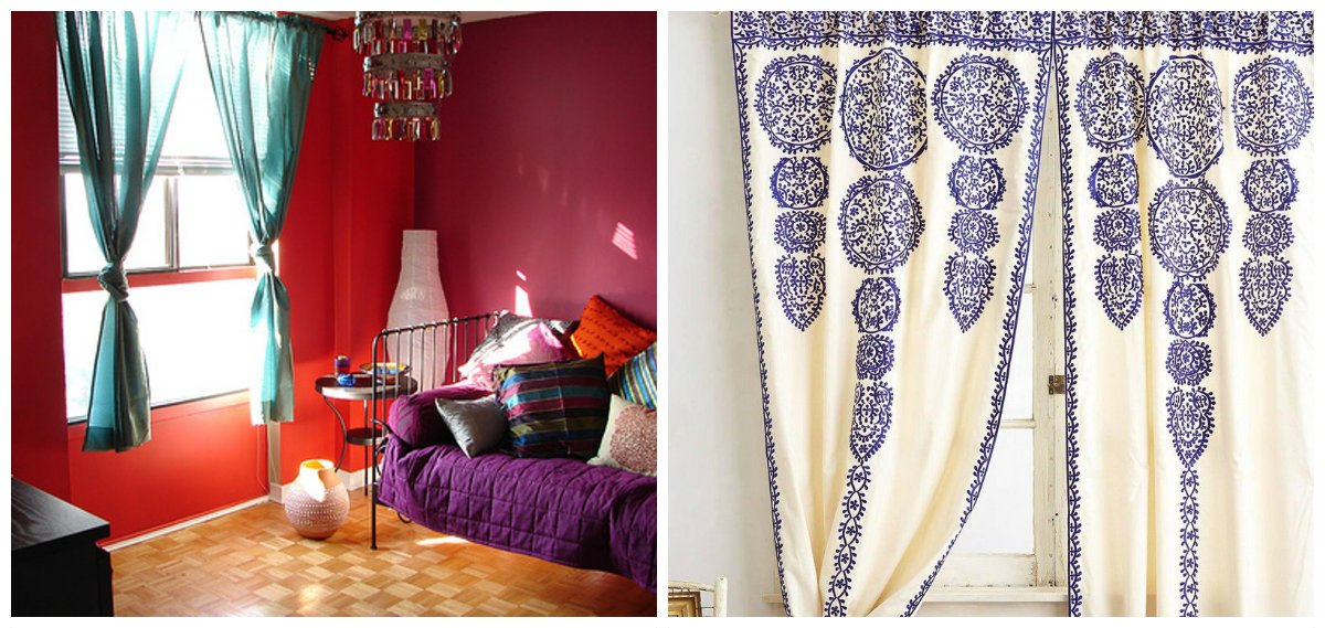 Moroccan interior design, curtains in Moroccan interior design