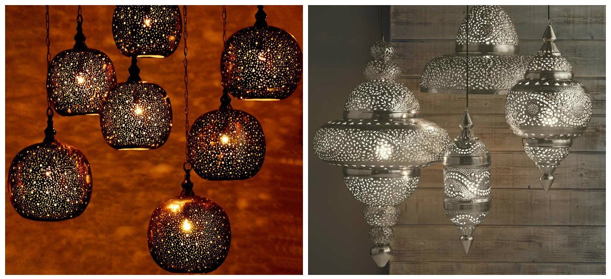 Moroccan interior design, hanging lamps in Moroccan interior design