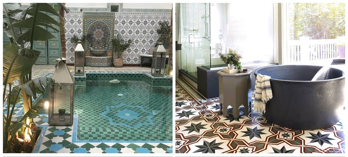 Moroccan interior design, tiles design in Moroccan interior design