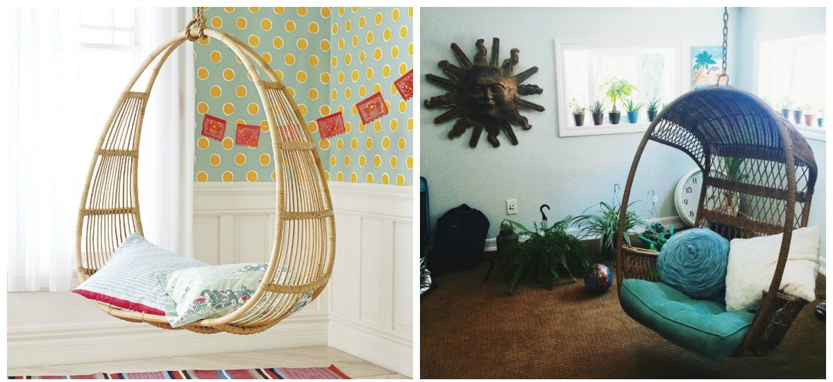 boho home decor, stylish chair swing in boho home decor