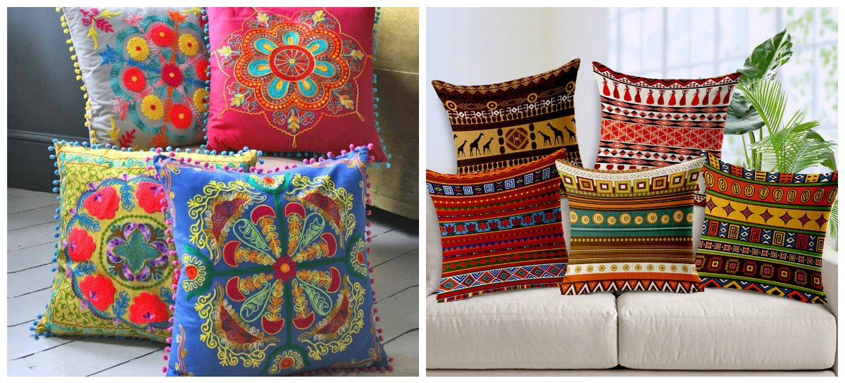 boho home decor, fashionable pillows in boho home decor ideas