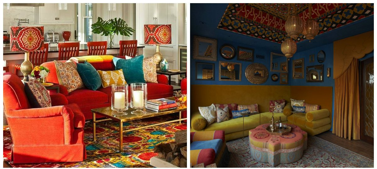 boho home decor, pillows and carpets in boho home decor