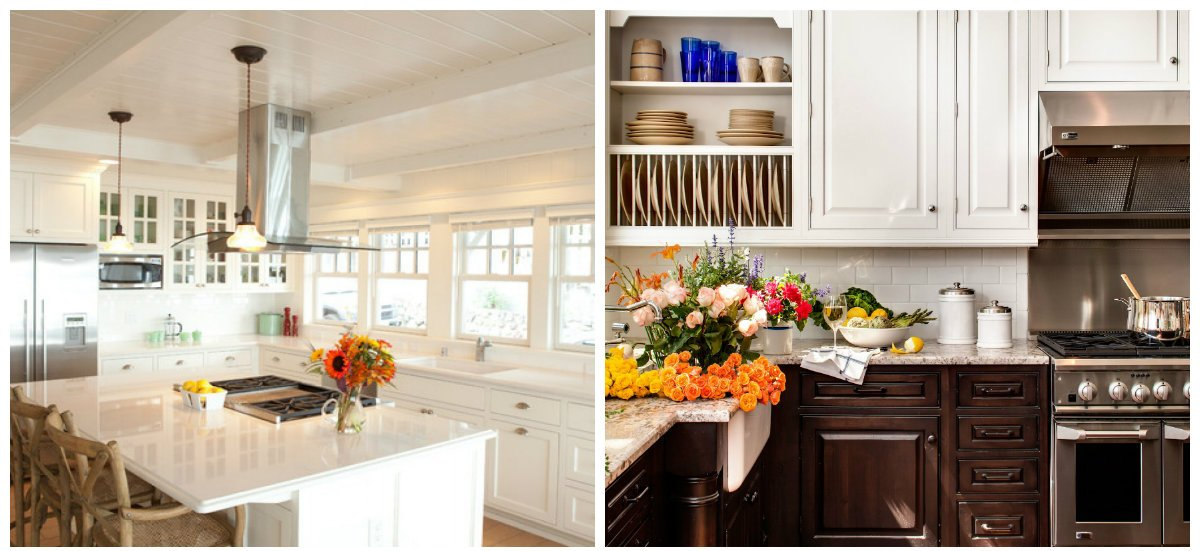 cottage kitchen ideas, flowers decoration in cottage kitchen ideas